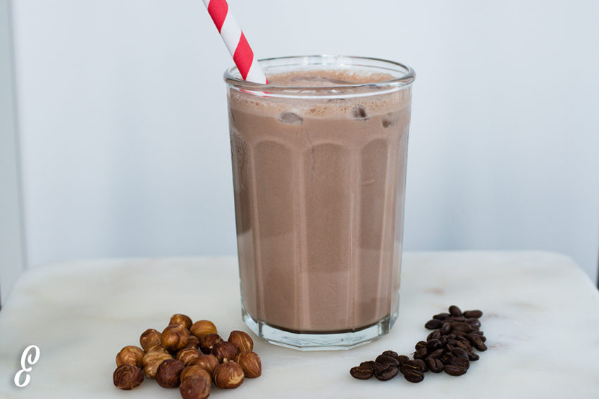 protein chocolate hazelnut coffee frappe